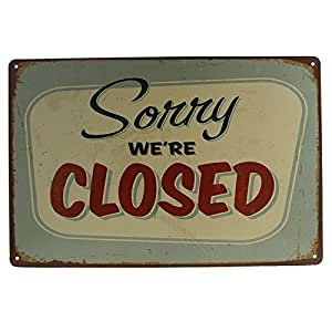 T ray sorry we are closed painting tin signs for Bar decor amazon