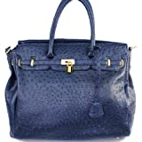 "Designer Inspired Purses ""Hermes Birkin -Similar Style"" London Office Tote (Large Size) Lock Embellishment Animal Print Ostrich with Adjustable Shoulder Strap in Navy, Bags Central"