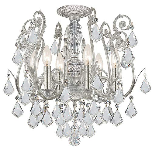 - 5115-OS-CL-MWP Regis 6LT Semi-Flush, Olde Silver Finish with Clear Hand Cut Crystal