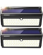 ZOOKKI 100 LED Solar Lights, 2000 Lumens Solar Motion Sensor Lights Outdoor, Waterproof Wireless Security Night Light for Outdoor Wall,Back Yard,Fence,Garage,Garden,Driveway 2 Pack