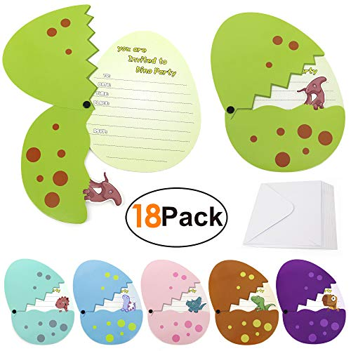 Dinosaur Birthday Invitations For Girls Boys Kids Party Invitations with Envelopes Dino Eggs Invites 18 Pieces Baby Shower Invitations Birthday Card Dinosaur Party Supplies