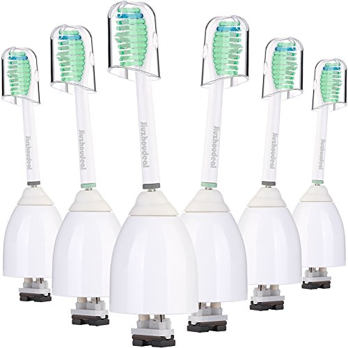 (Jiuzhoudeal Replacement Toothbrush Heads Compatible with Sonicare E Series HX7022, Fit Sonicare Essence, Xtreme, Elite, Advance and CleanCare Electric Toothbrush Brush Handles, 6 Pack)