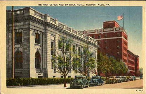 Warwick Post - Post Office And Warwick Hotel Newport News, Virginia Original Vintage Postcard