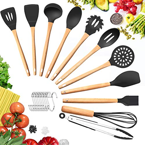 Silicone Cooking Utensils Kitchen Utensil Set – 11 Pieces Natural Wooden Handles Cooking Tools BPA Free Turner Tongs Spatula Spoon for Nonstick Cookware (Black)