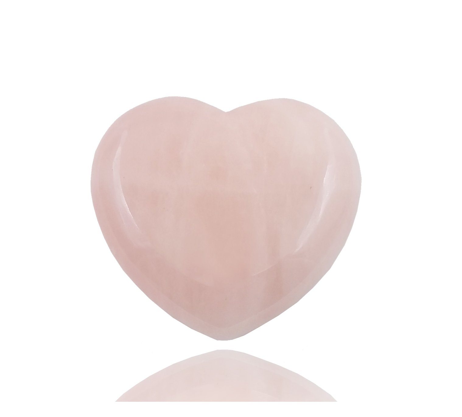 THINK POSITIVE Natural Rose Quartz Heart Love Healing Crystal Palm Stone (PINK)