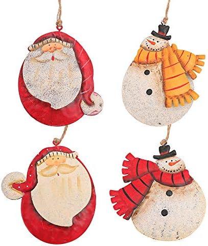 Dasing 4 stuks Kerst Metaal Handgeschilderde Sneeuwman Kerstman Kerstman Kerstboom Decoratie Accessoires R H Ngende Ornamenten Leveringen