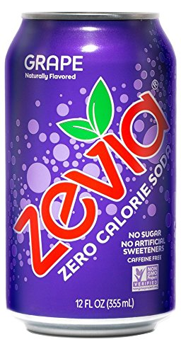 (Zevia Zero Calorie Soda, Grape, Naturally Sweetened Soda, (24) 12 Ounce Cans; Grape-flavored Carbonated Soda; Refreshing, Full of Flavor and Delicious with No Sugar (packaging may vary))