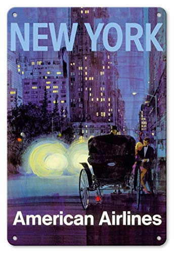 LHZJ Fashionable New York - Central Park Horse Carriage at Night - American Airlines by Van KaufmanWall Sign 8X12 inches Metal tin Sign