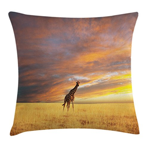 Ambesonne Giraffe Throw Pillow Cushion Cover, Animal in Savannah under Clouds at Sunset African Wildlife Themed Safari, Decorative Square Accent Pillow Case, 28 X 28 Inches, Yellow Blue Mauve