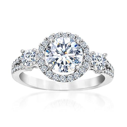 Round Stone Mother Ring (Mia Sarine Womens Round Halo Three Stone Cubic Zirconia Engagement Ring in Rhodium over Brass Size 8)