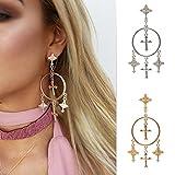 Fashion Retro Exaggerated Alloy Dangle Earrings Carved Cross Tassel Long Drop Earring