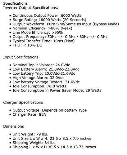 AIMS Volt Charger, 6000 Low Frequency Inverter Phase, Watt Surge, Battery Priority Block, GFCI