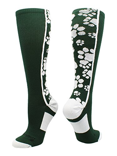 - MadSportsStuff Crazy Socks with Paws Over The Calf (Dark Green/White, Small)