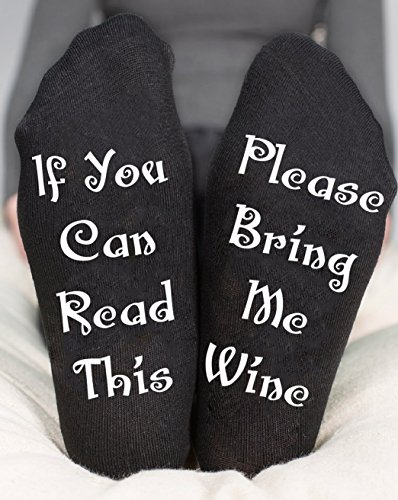 Personalized Socks, Wine Gift, If You Can Read This Please Bring Me Wine, Christmas Gift For Mom Or Dad, Birthday Gifts for Her Or Him, Stocking Stuffer, Funny Gift Ankle (Black Karma Apparel)