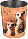 Runner Design Waste Paper Bin 13 Litre Waste Bin, Perfect for Nursery, Bedroom Or Playroom, Round, Durable Plastic Meerkats Erdmännchen