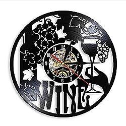ZHRRYA Wine Logo Wall Clock Winery Bottle Glass Grape Vine Drink Drinking Alcohol Liquor Pub Bar Label Emblem Vinyl Record Wall Clock