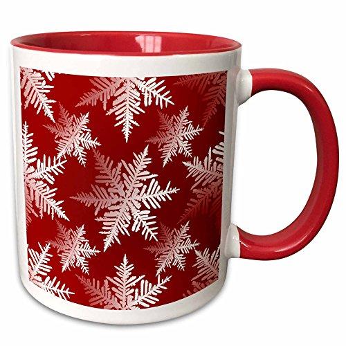 3dRose 219079_5 Seasonal White Snowflakes design on red tonal background Ceramic Mug 11oz