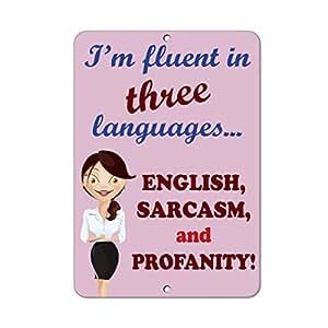 Estoy fluido en tres idiomas Inglés Sarcasm y lenguaje soez. Decoración del hogar signo cartel de metal para exterior Patio señal de seguridad