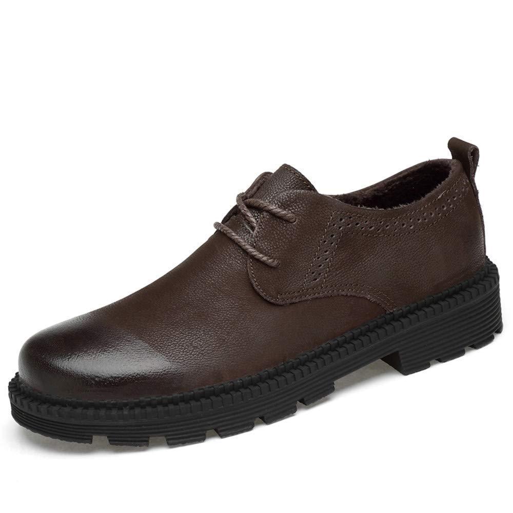 FuweiEncore 2018 Männer Business Oxford Casual Leder Arbeitskleidung Rundkopf Dicker Boden Regelmäßige Baumwolle Warm Formale Schuhe (Farbe   Warm braun, Größe   38 EU) (Farbe   Braun, Größe   43 EU)