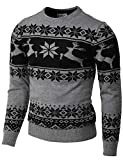 H2H Mens Casual Slim Fit Knitted Crew Neck Sweaters Thermal of Various Christmas Pattern Gray US M/Asia L (CMOSWL055)