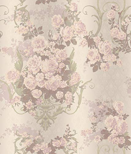 (Décor Direct YWAR7705 Pattern Wallpaper Iridescent, Cream, Peach, Pale Lilac, Grey/Green, Purple)