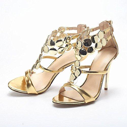 Carolbar Mujeres Metal Circular Decorations Zip Sexy Charol Stiletto Heel Dress Sandals Gold