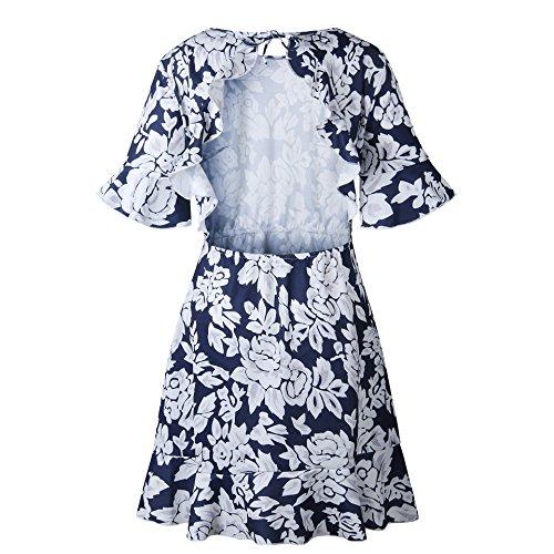 RAFAGO Blue Navy Halter Dress Printed Ruffle 10r1q