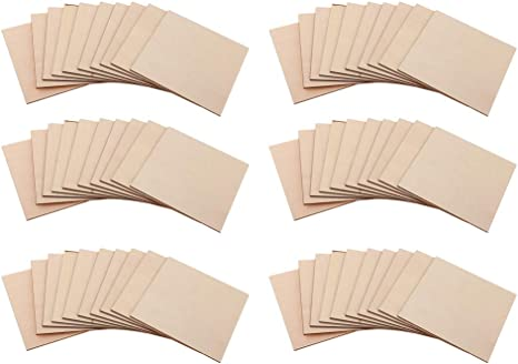 dailymall 60Pcs 4 x 4 Inch Blank Wood Square Plaque Sign Basswood Sheets Board for Engraving Unfinished and Unpainted Wooden Cutouts Tiles