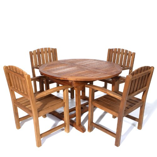 All Things Cedar 5 Piece Teak Oval Extension Table Dining Chair Set, Expandable - Extension Teak Patio Table