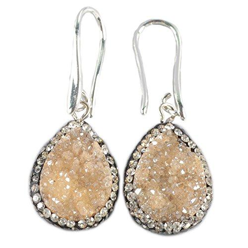 JAB 1 Pair Elegant Drop Titanium Druzy Crystal Diamond Pave Fish Hook Dangle Earings (Titanium Drop)