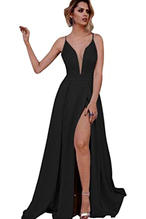 Harsuccting Deep V-Neck Spaghetti Straps Sex Slit Long Evening Prom Dress Black 2