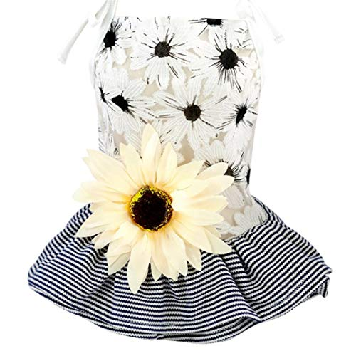 LVYING Pet Dog Dress Sunflower Daisy Gauze Tutu Skirt Spring Cute Princess Wedding Ball Gown Party Summer Cat Short