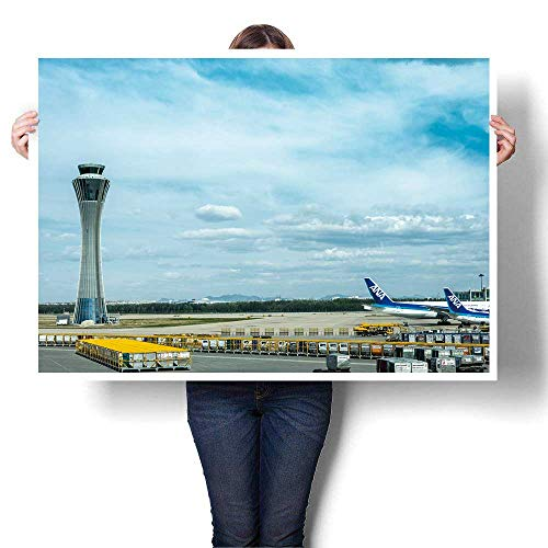 SCOCICI1588 Canvas Wall Art Air Traffic Control Tower and Aiport Oil Painting,28