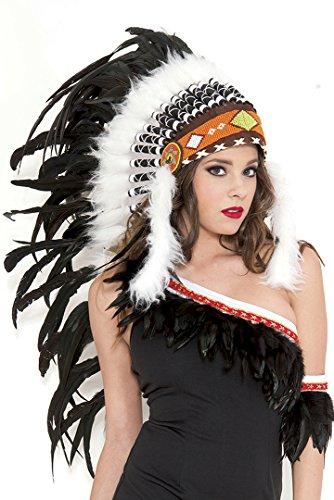 [Music Legs Women's Pure White Indian Headress, White, One Size] (Indian Headress)