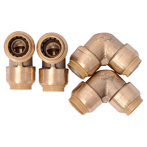 SharkBite U248LFA4 90 Degree Elbow Plumbing Fitting Pipe Connector, 1 Inch, PEX Fittings, Push-to-Connect, Copper, CPVC, Pack of 4