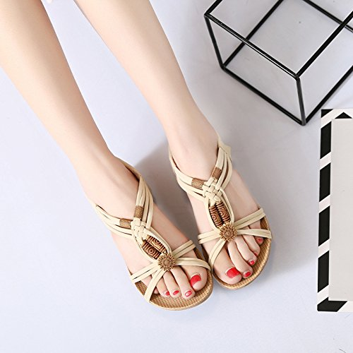 Rice Women'S Flat Sandals Comfortable Toed Fashion Students And white Sweet WHLShoes Sandals Beach Flat Bottomed Summer Comfortable ZqUxdP