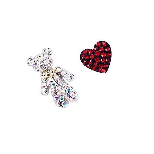 Dana Carrie S925 silver aguja hipoalergénica asimétrica de temperamento lindo amor rojo melocotón corazón Diamond Earrings