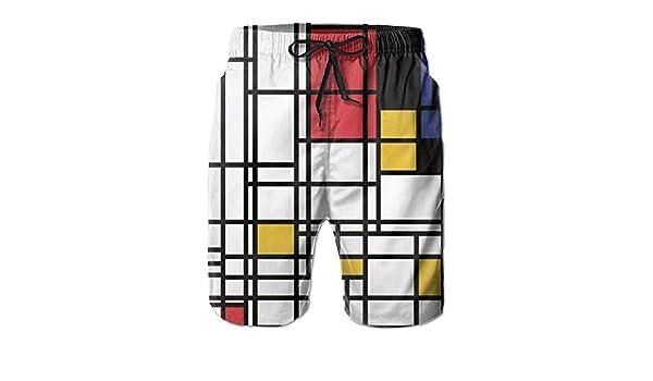 Mens Mondrian Style Summer Holiday Swim Trunks Beach Shorts Board Shorts