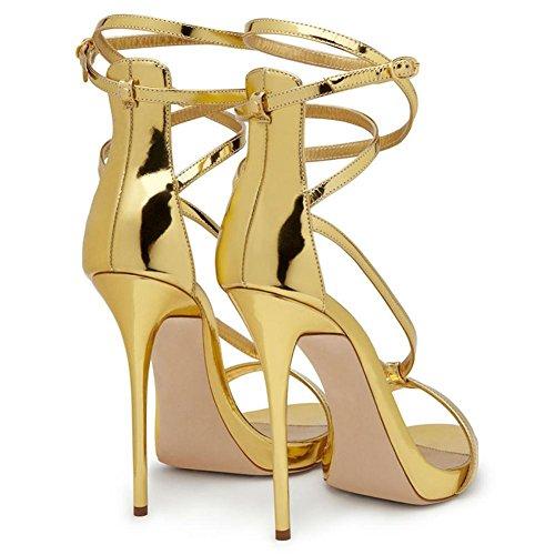 Piede Le 40 Cinghia Vestito Caviglia Donna Oro Cinghie Dito Sbirciare Eur Alto Uk 7 Festa Tacco Sandali Stiletto Del Discoteca Signore Attraversare 8qwx4Htx