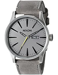 Nixon Men's 'Sentry Charcoal' Quartz Stainless Steel and Leather Automatic Watch, Color:Grey (Model: A105-147-00)