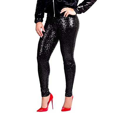 377e5773f9887 Rosennie Womens Trousers,Plus Size Women Fashion Shiny Sequin Slim Leggings  Ladies Sexy Clubwear Pencil Harem Pants: Amazon.co.uk: Clothing