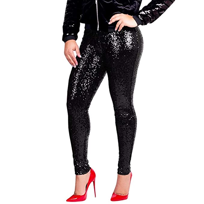 764a61993238e Image Unavailable. Image not available for. Color: Mayunn Women's Plus Size  Clubwear Shiny Metallic Leggings ...