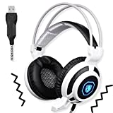 Image of SADES SA905 Wired USB PC Gaming Headset Over-Ear headband Headphones with Microphone Vibration LED Lights(Black&White)