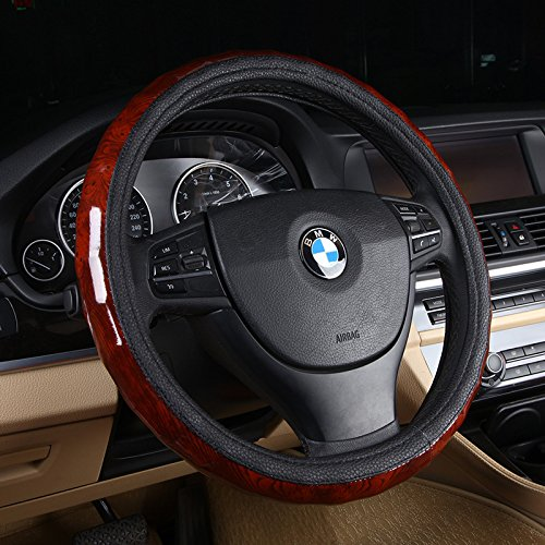 (Follicomfy Leather Auto Car Steering Wheel Cover Wood Grain Design,Anti Slip Universal 15 Inch,Black)