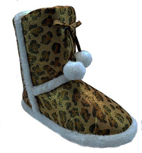 Animal Metallic Fur Womens Bronze Slippers Print Glitter Suede Bootie Shoes Blue pqf8gw