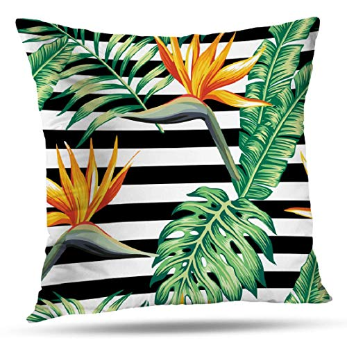 KJONG Tropical Stripe Banana Leaf Zippered Pillow Cover,18X18 inch Square Decorative Throw Pillow Case Fashion Style Cushion Covers(Two Sides Print)