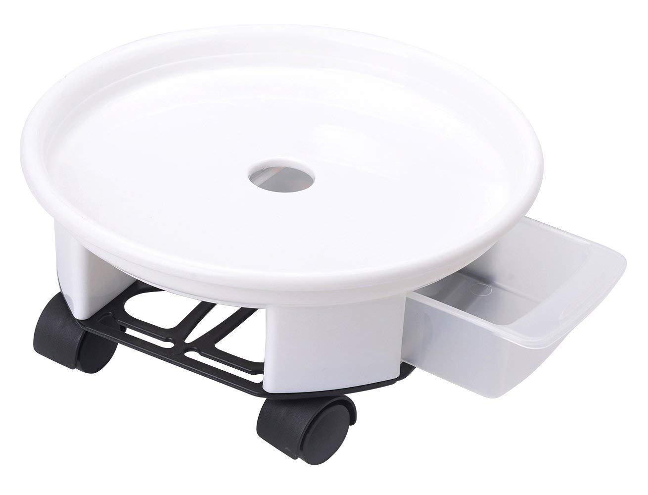 blanco EPNT 1 soporte redondo para macetas con ruedas para mover macetas