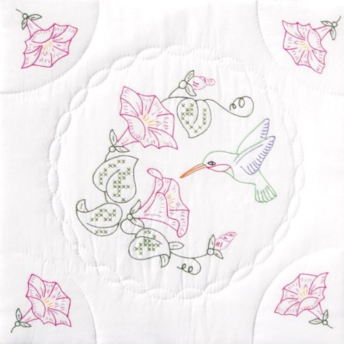 Glory Quilt Block (Stamped White Quilt Blocks 18X18 6/Pkg-Hummingbird & Morning Glories)