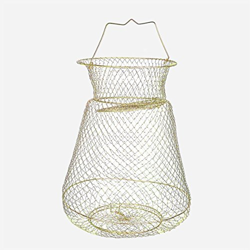 Saim Gold Tone Folding Spring Design Fish Cage Fishing Keep Net for Fisher (22