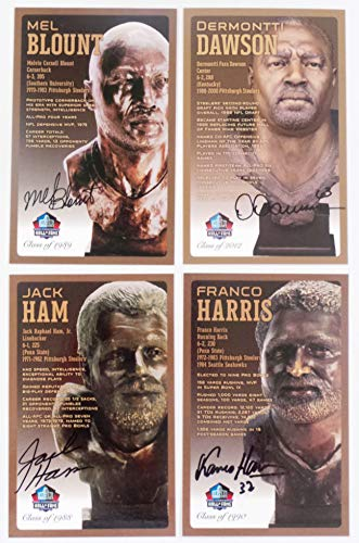 (PRO FOOTBALL HALL OF FAME Pittsburgh Steelers Set of 4 Signed Bronze Bust Set Autographed Cards (Limited Edition Only 150 Produced) Mel Blount, DERMONTTI Dawson, Jack HAM, Franco Harris)